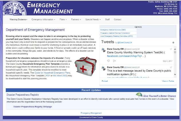 Photo of Dane County Emergency Management Webpage